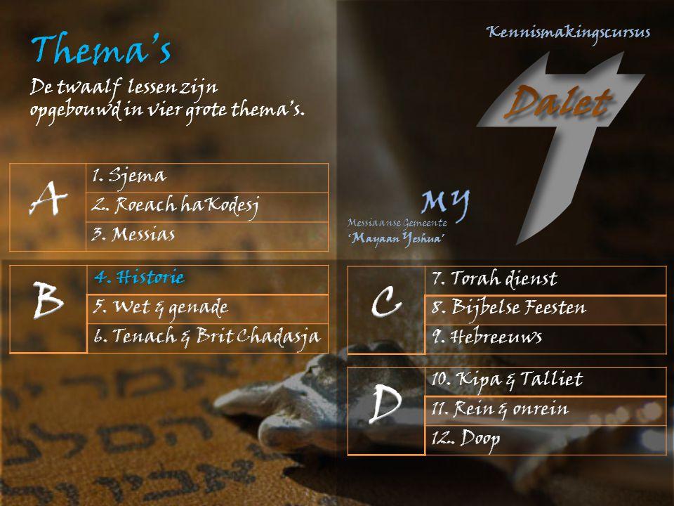 A B C D Thema's De twaalf lessen zijn opgebouwd in vier grote thema's.