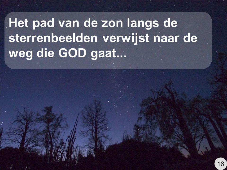 Het pad van de zon langs de sterrenbeelden verwijst naar de weg die GOD gaat...