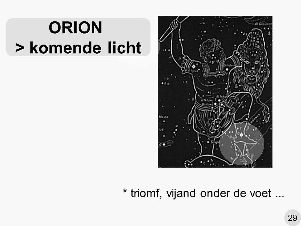 ORION > komende licht
