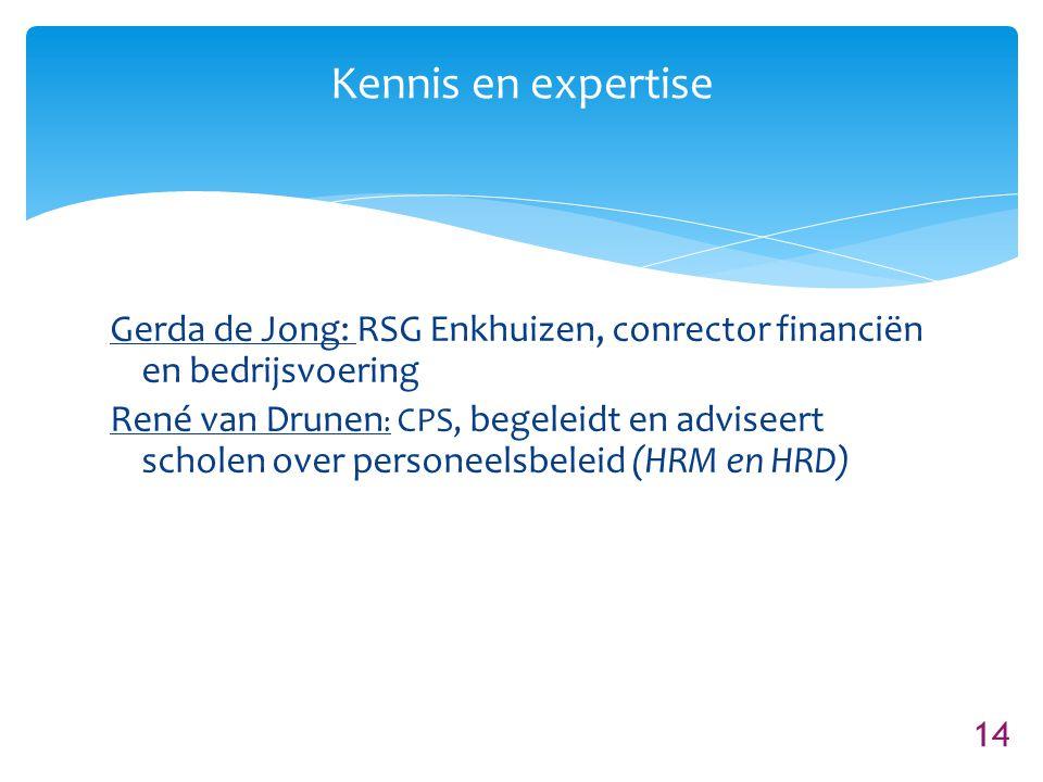 Kennis en expertise Gerda de Jong: RSG Enkhuizen, conrector financiën en bedrijsvoering.
