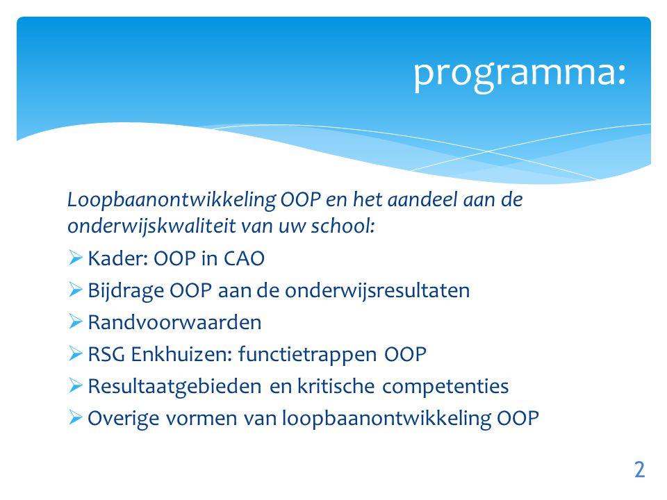 programma: Loopbaanontwikkeling OOP en het aandeel aan de onderwijskwaliteit van uw school: Kader: OOP in CAO.