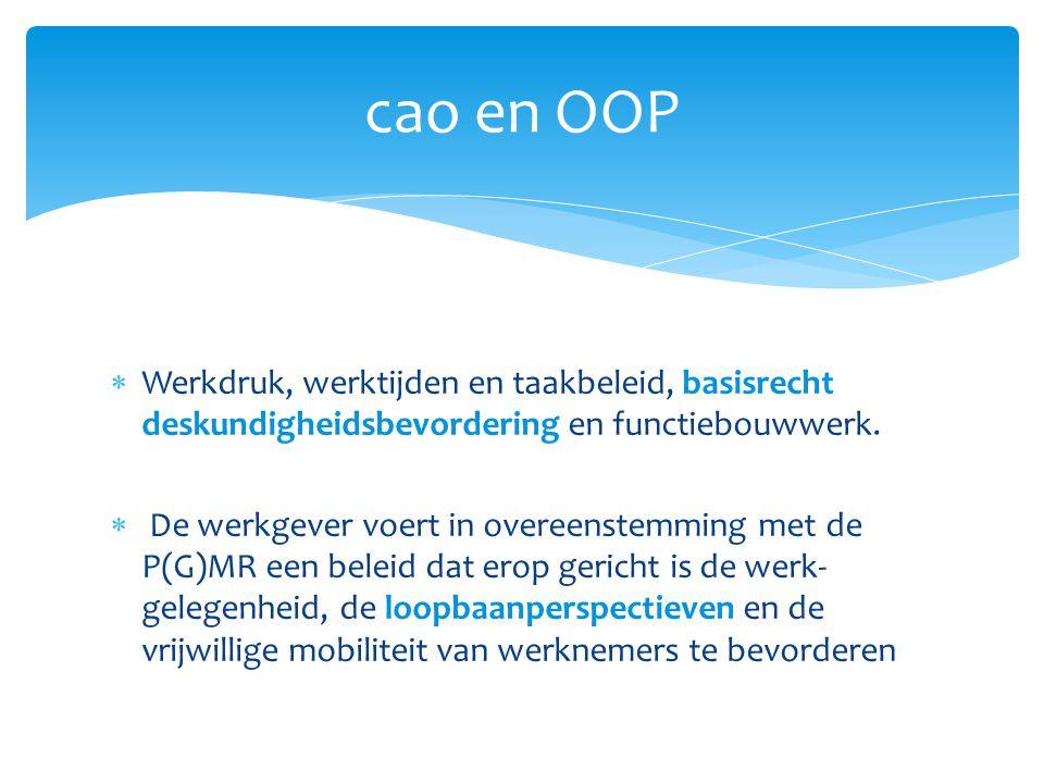 cao en OOP Werkdruk, werktijden en taakbeleid, basisrecht deskundigheidsbevordering en functiebouwwerk.