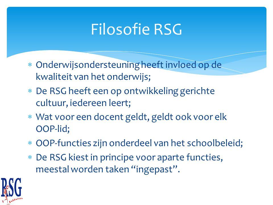 Filosofie RSG Onderwijsondersteuning heeft invloed op de kwaliteit van het onderwijs;