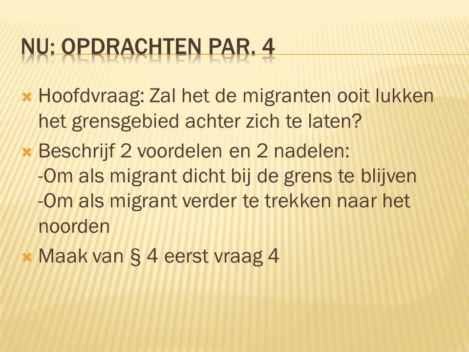 NU: Opdrachten par. 4 Hoofdvraag: Zal het de migranten ooit lukken het grensgebied achter zich te laten