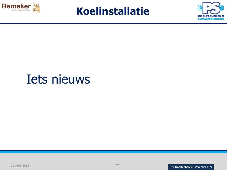 Iets nieuws Koelinstallatie 02 April 2015