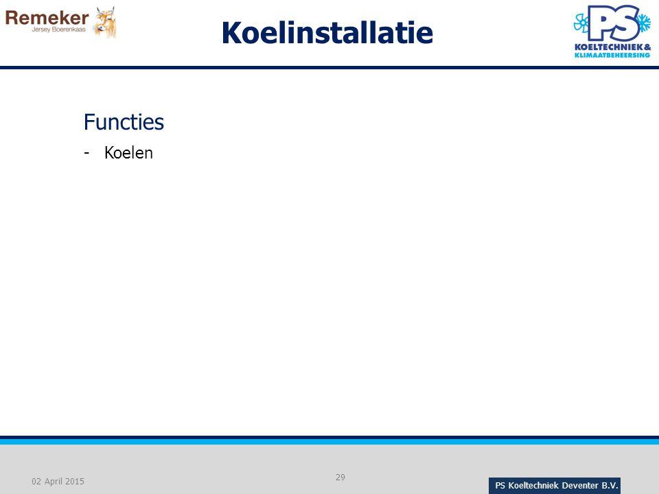 Koelinstallatie Functies Koelen 02 April 2015