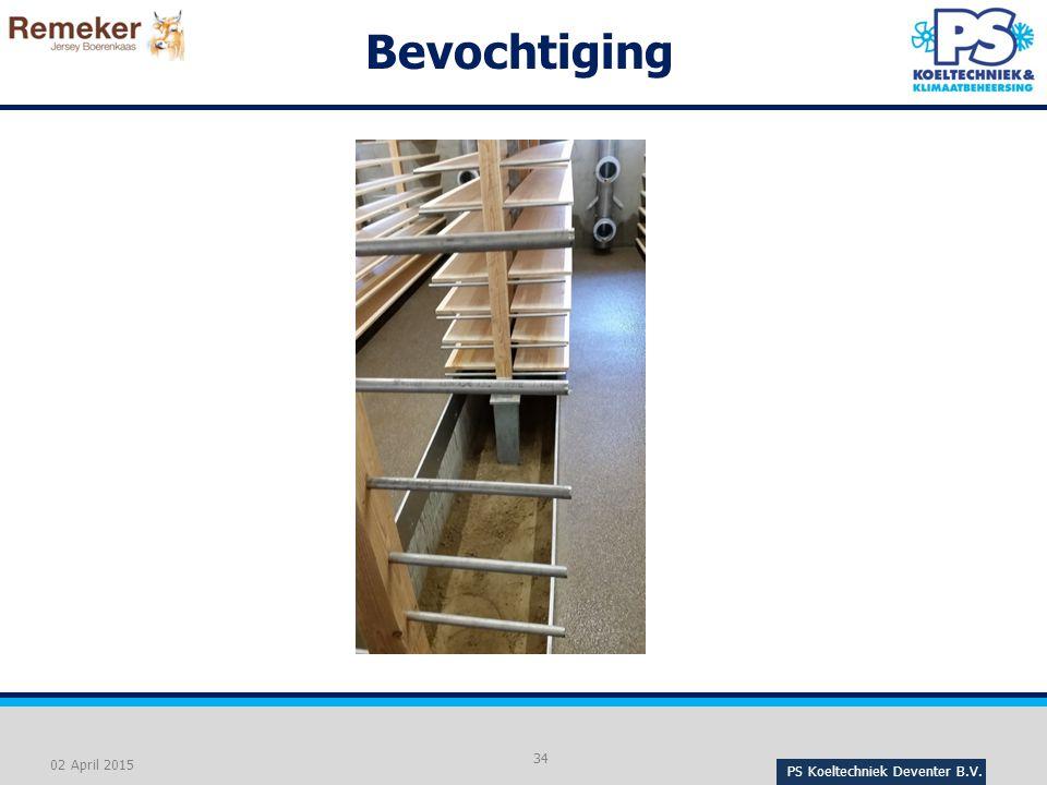 Bevochtiging - Bevochtigen door open verbinding tussen de pakhuislucht en het grondwater onder de stellingen.
