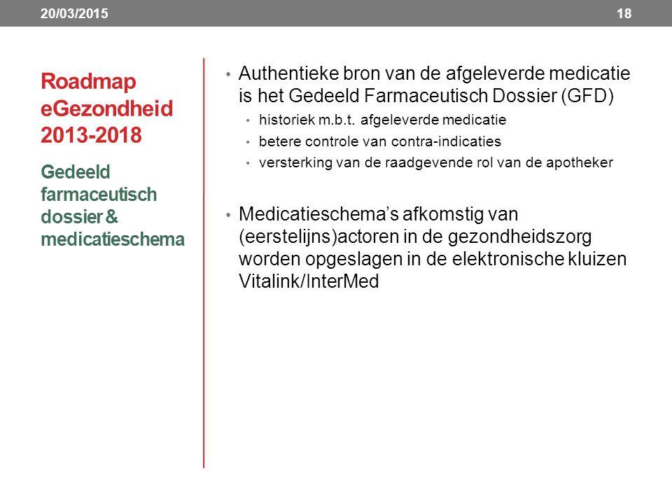 20/03/2015 Roadmap eGezondheid 2013-2018. Authentieke bron van de afgeleverde medicatie is het Gedeeld Farmaceutisch Dossier (GFD)