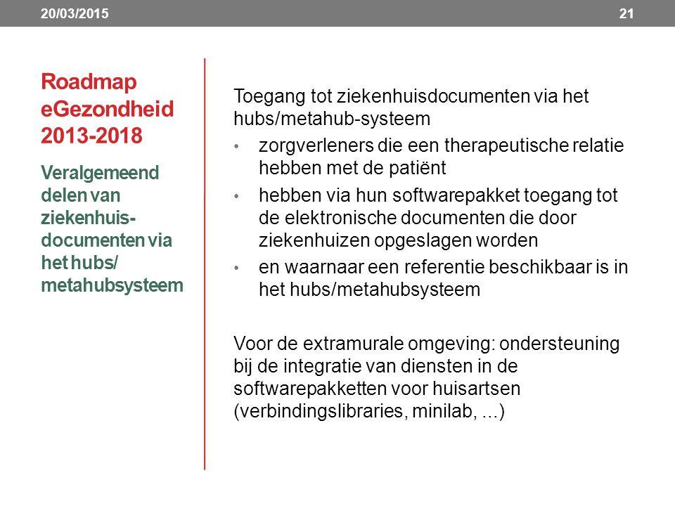 20/03/2015 Roadmap eGezondheid 2013-2018. Toegang tot ziekenhuisdocumenten via het hubs/metahub-systeem.