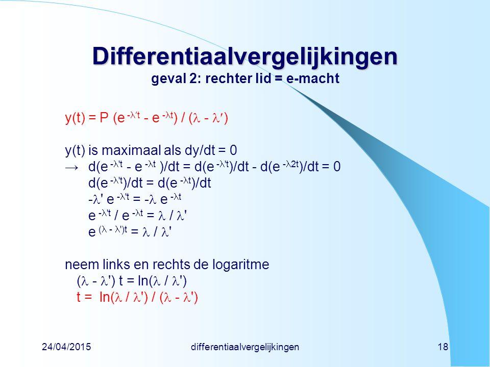 Differentiaalvergelijkingen geval 2: rechter lid = e-macht