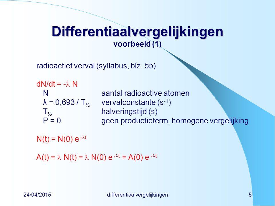 Differentiaalvergelijkingen voorbeeld (1)