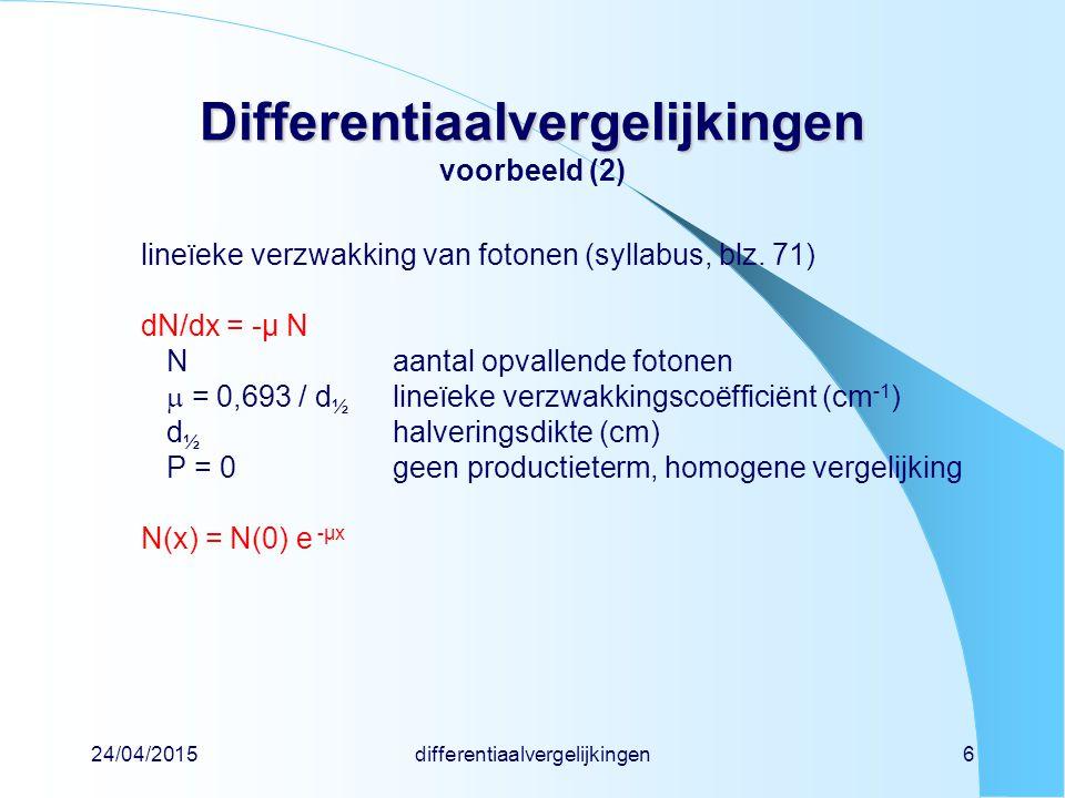 Differentiaalvergelijkingen voorbeeld (2)