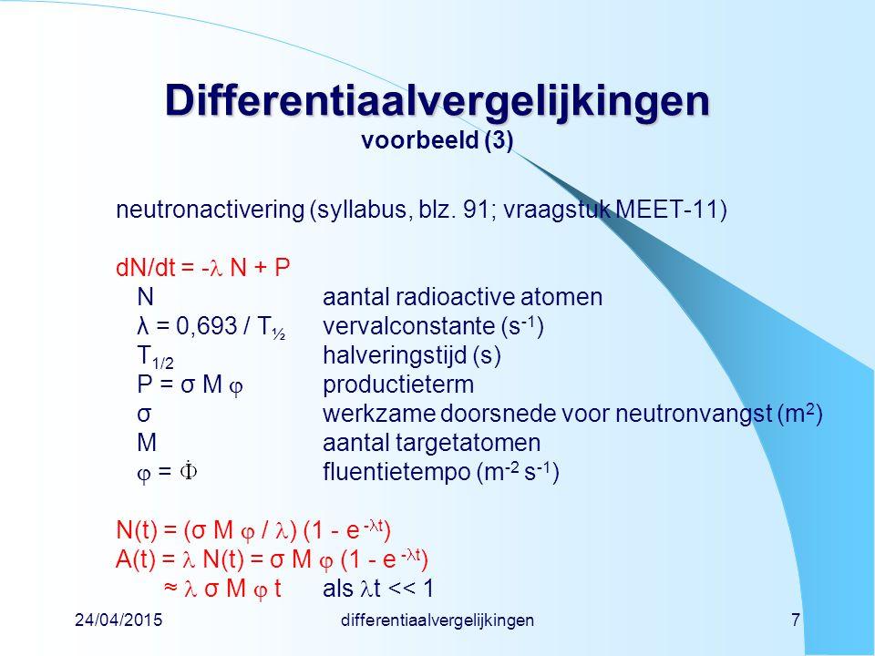 Differentiaalvergelijkingen voorbeeld (3)