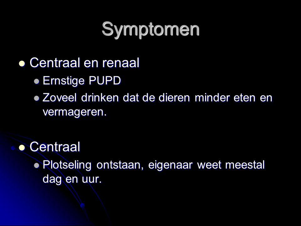 Symptomen Centraal en renaal Centraal Ernstige PUPD