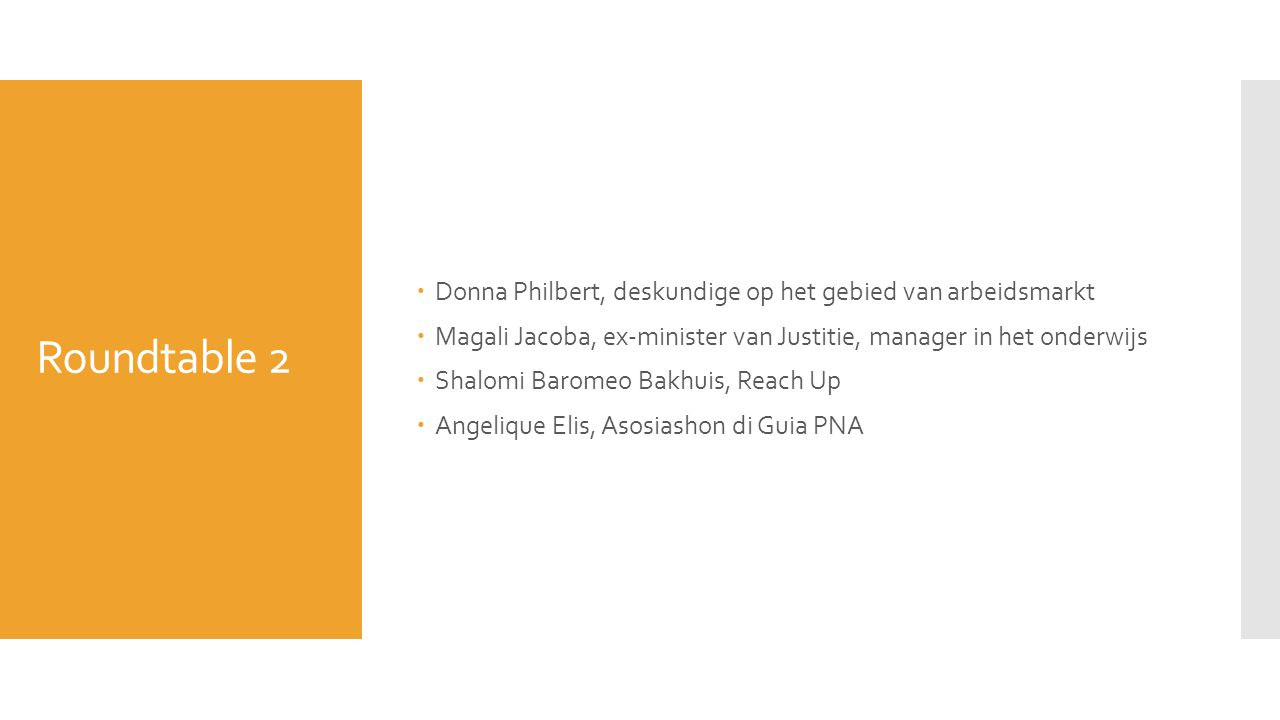 Roundtable 2 Donna Philbert, deskundige op het gebied van arbeidsmarkt
