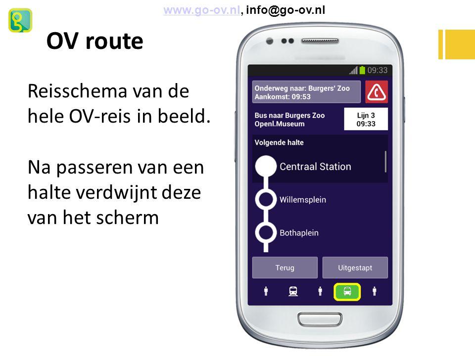 OV route Reisschema van de hele OV-reis in beeld.