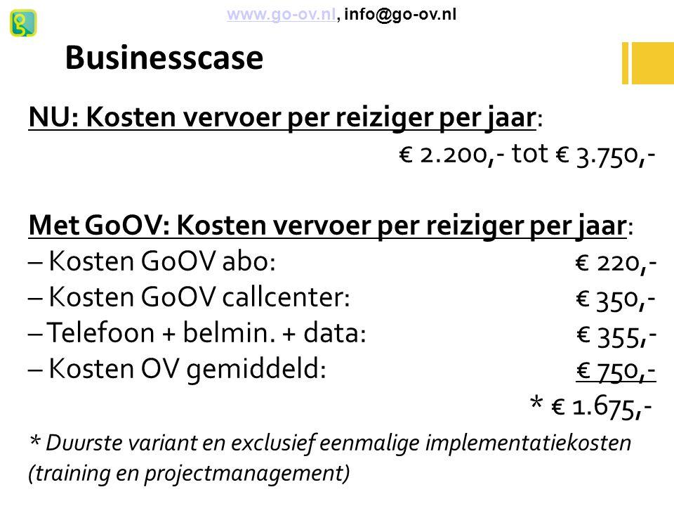 Businesscase NU: Kosten vervoer per reiziger per jaar:
