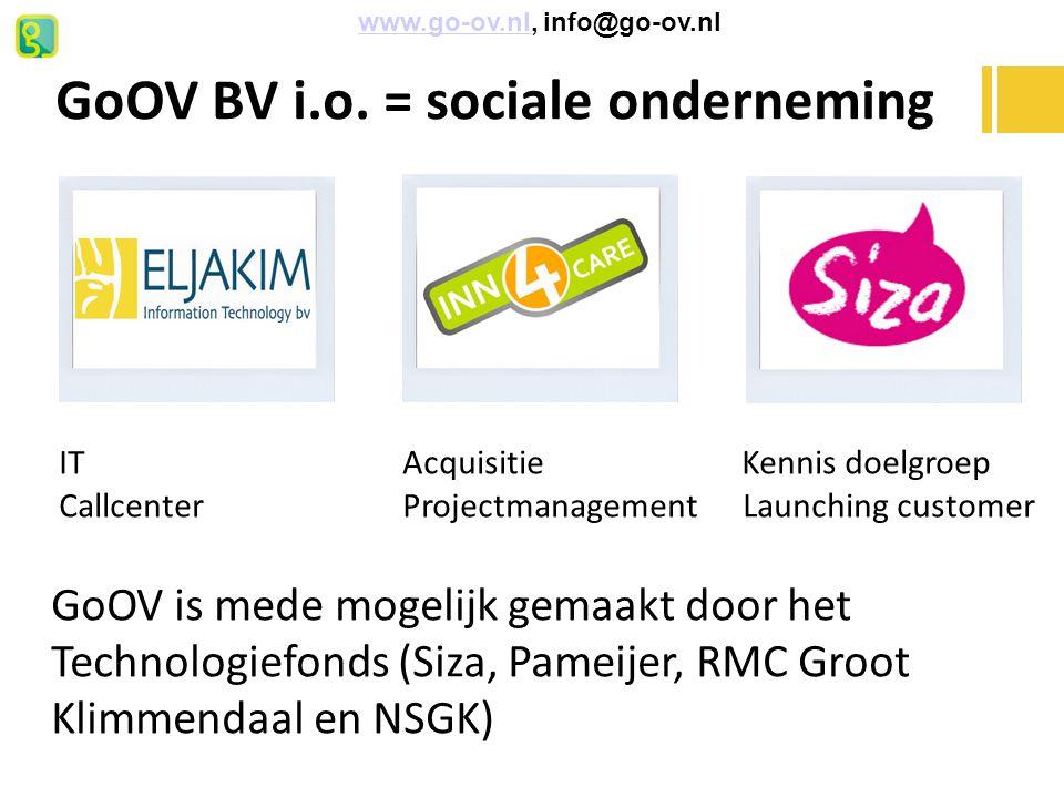 GoOV BV i.o. = sociale onderneming