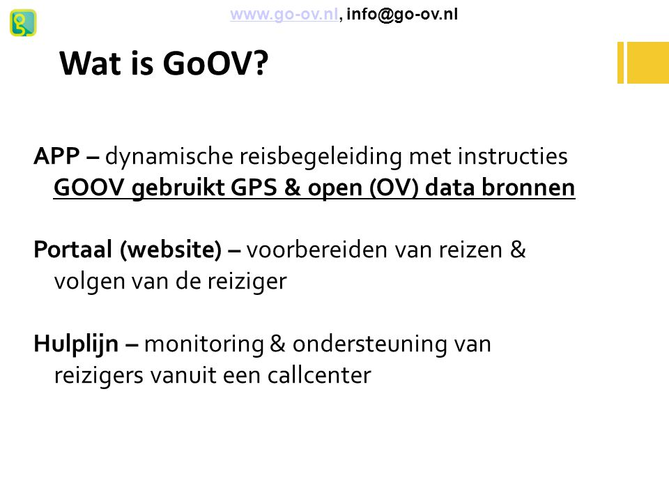 Wat is GoOV APP – dynamische reisbegeleiding met instructies
