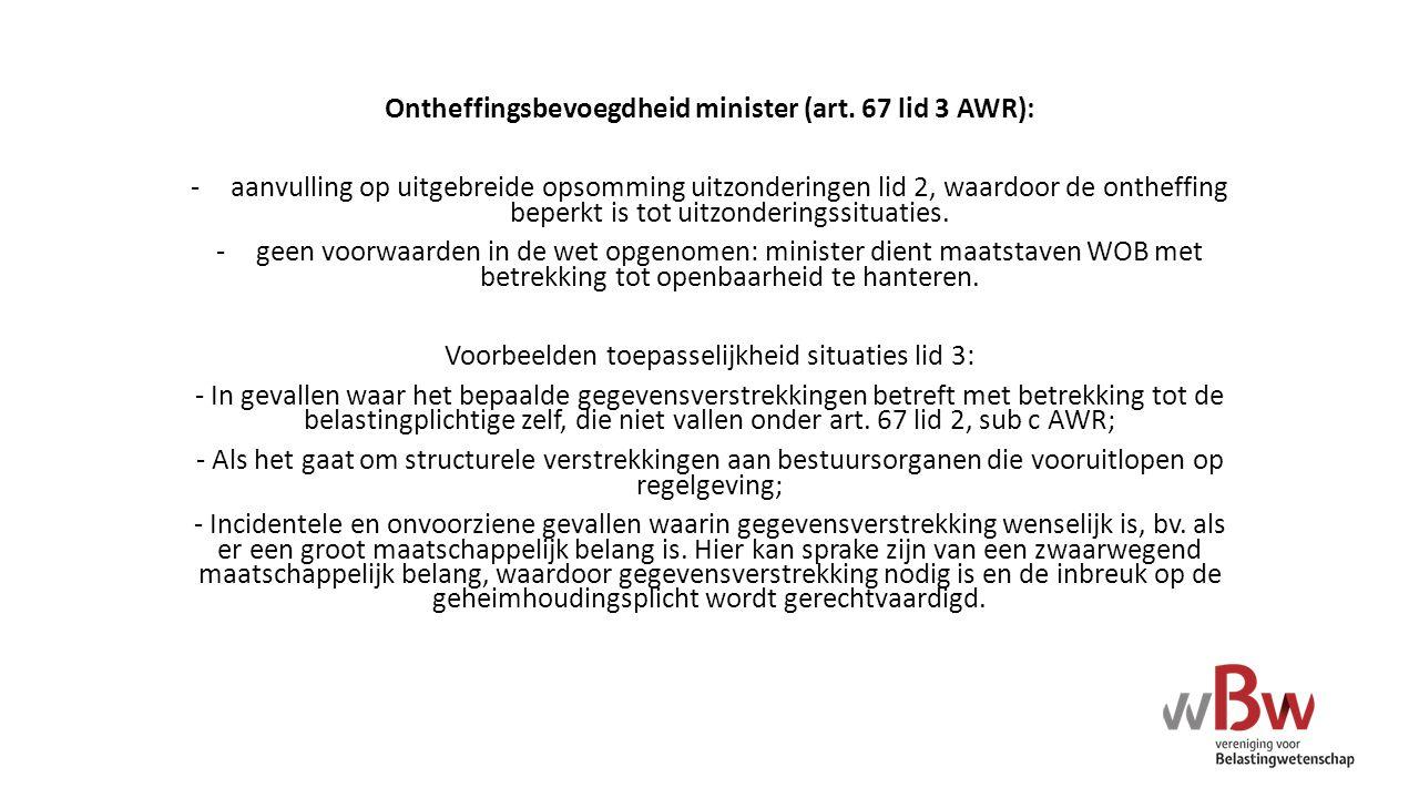 Ontheffingsbevoegdheid minister (art. 67 lid 3 AWR):