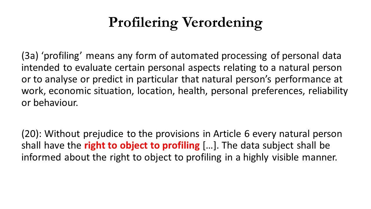 Profilering Verordening