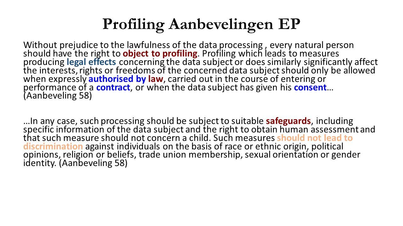 Profiling Aanbevelingen EP