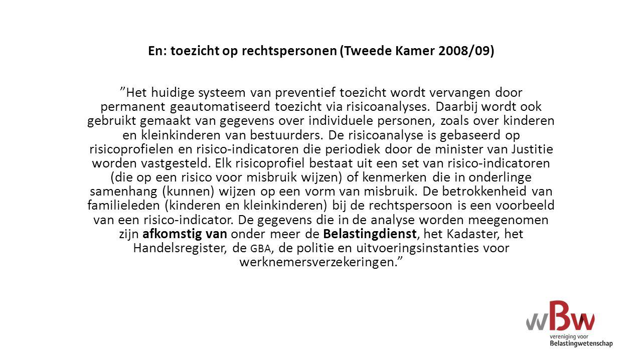 En: toezicht op rechtspersonen (Tweede Kamer 2008/09)