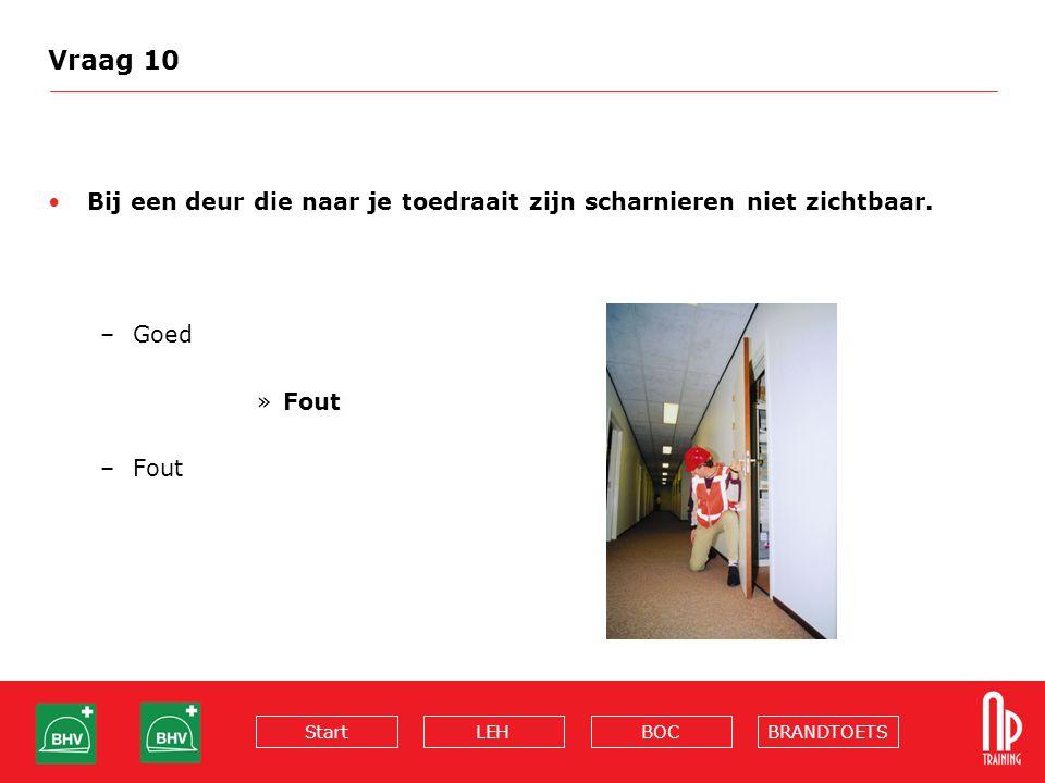 Vraag 10 Bij een deur die naar je toedraait zijn scharnieren niet zichtbaar. Goed Fout