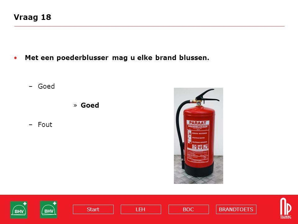 Vraag 18 Met een poederblusser mag u elke brand blussen. Goed Fout
