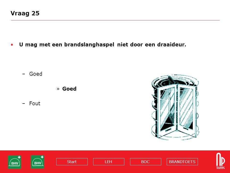 Vraag 25 U mag met een brandslanghaspel niet door een draaideur. Goed