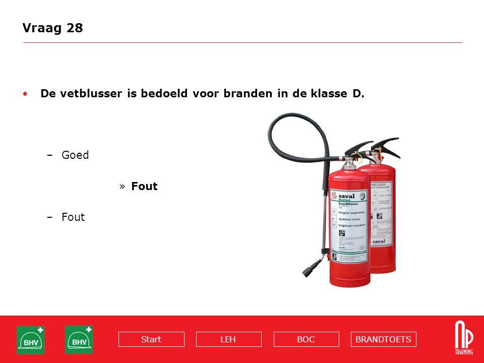 Vraag 28 De vetblusser is bedoeld voor branden in de klasse D. Goed