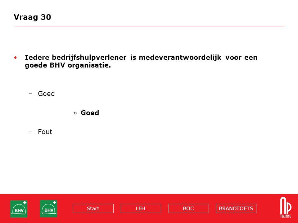 Vraag 30 Iedere bedrijfshulpverlener is medeverantwoordelijk voor een goede BHV organisatie. Goed.