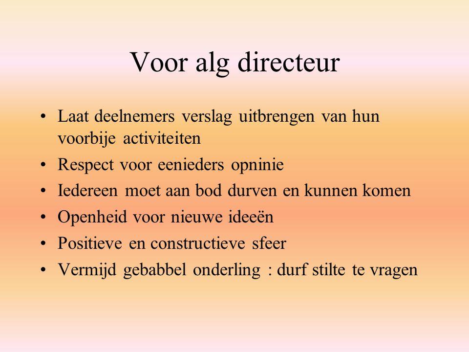 Voor alg directeur Laat deelnemers verslag uitbrengen van hun voorbije activiteiten. Respect voor eenieders opninie.