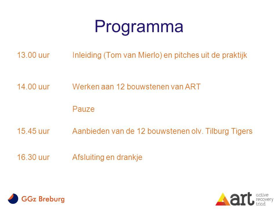 Programma 13.00 uur Inleiding (Tom van Mierlo) en pitches uit de praktijk. 14.00 uur Werken aan 12 bouwstenen van ART.