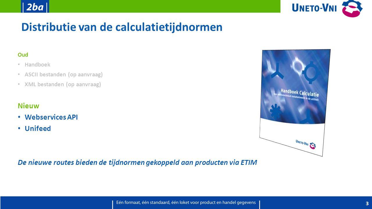 Distributie van de calculatietijdnormen