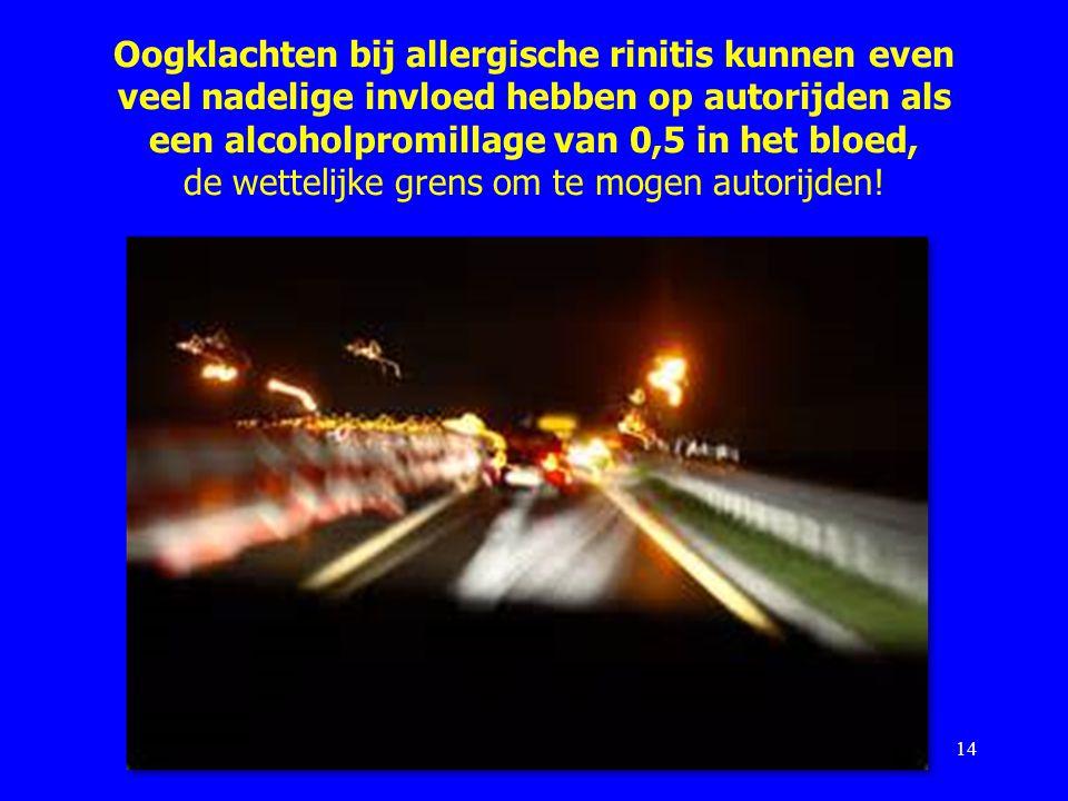 Oogklachten bij allergische rinitis kunnen even veel nadelige invloed hebben op autorijden als een alcoholpromillage van 0,5 in het bloed, de wettelijke grens om te mogen autorijden!