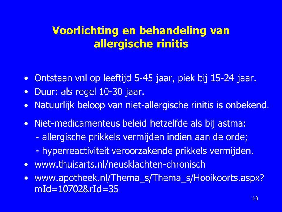 Voorlichting en behandeling van allergische rinitis