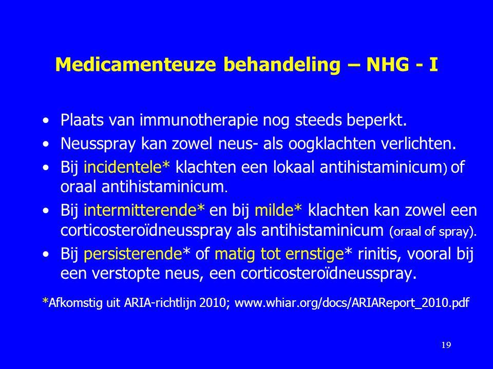 Medicamenteuze behandeling – NHG - I