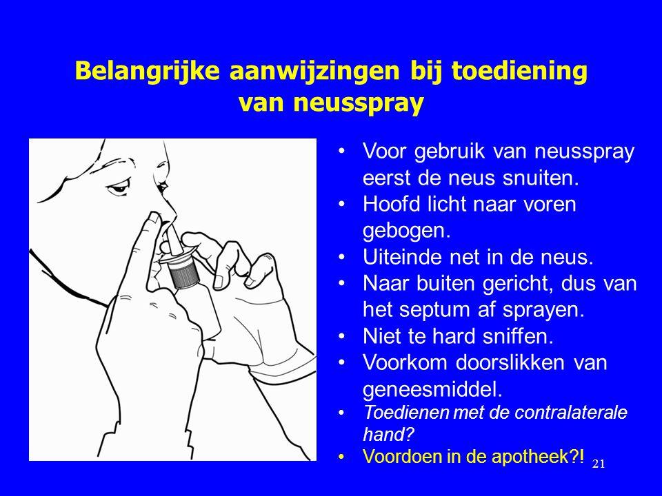 Belangrijke aanwijzingen bij toediening van neusspray