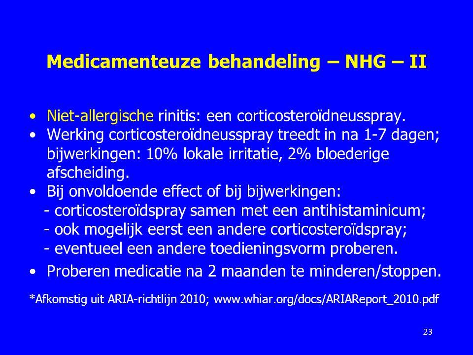 Medicamenteuze behandeling – NHG – II