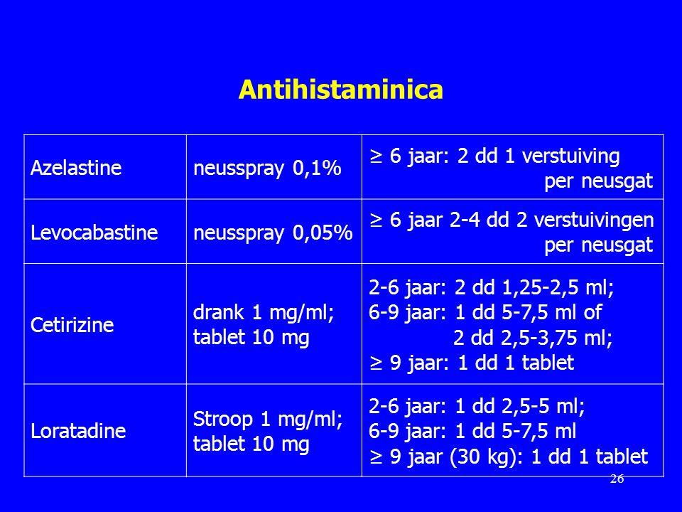 Antihistaminica Azelastine neusspray 0,1% ≥ 6 jaar: 2 dd 1 verstuiving