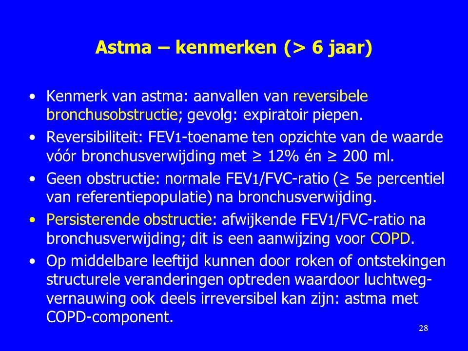 Astma – kenmerken (> 6 jaar)