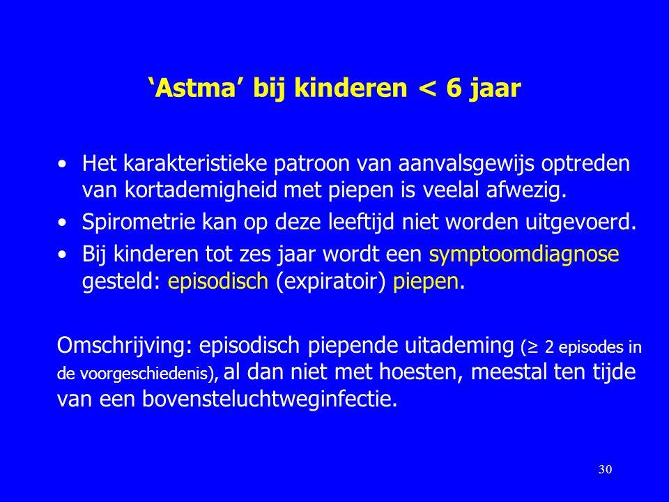 'Astma' bij kinderen < 6 jaar