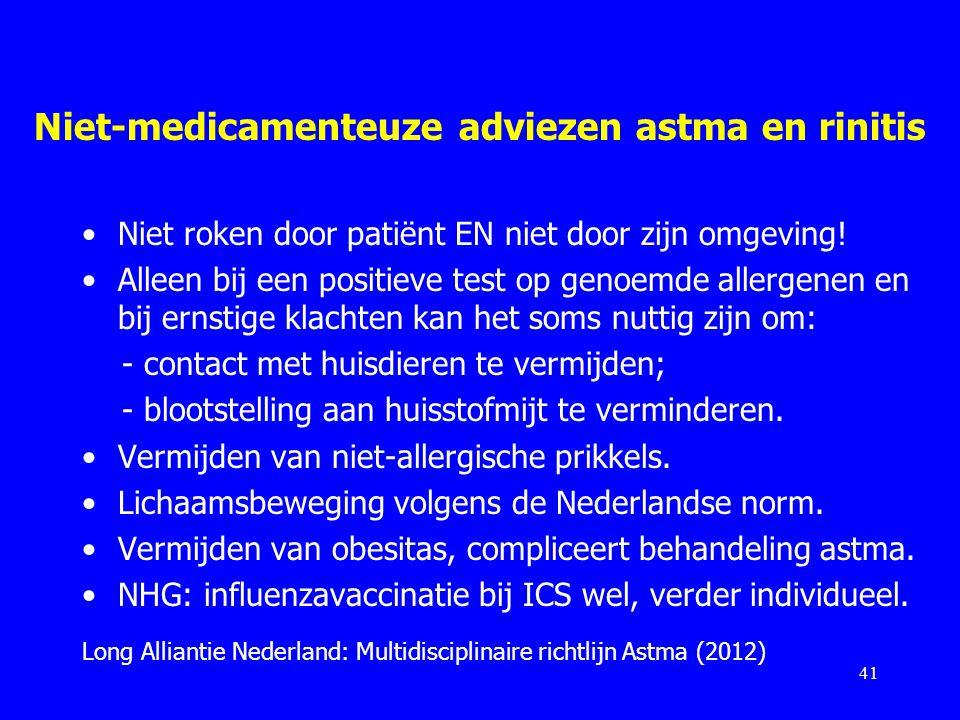Niet-medicamenteuze adviezen astma en rinitis
