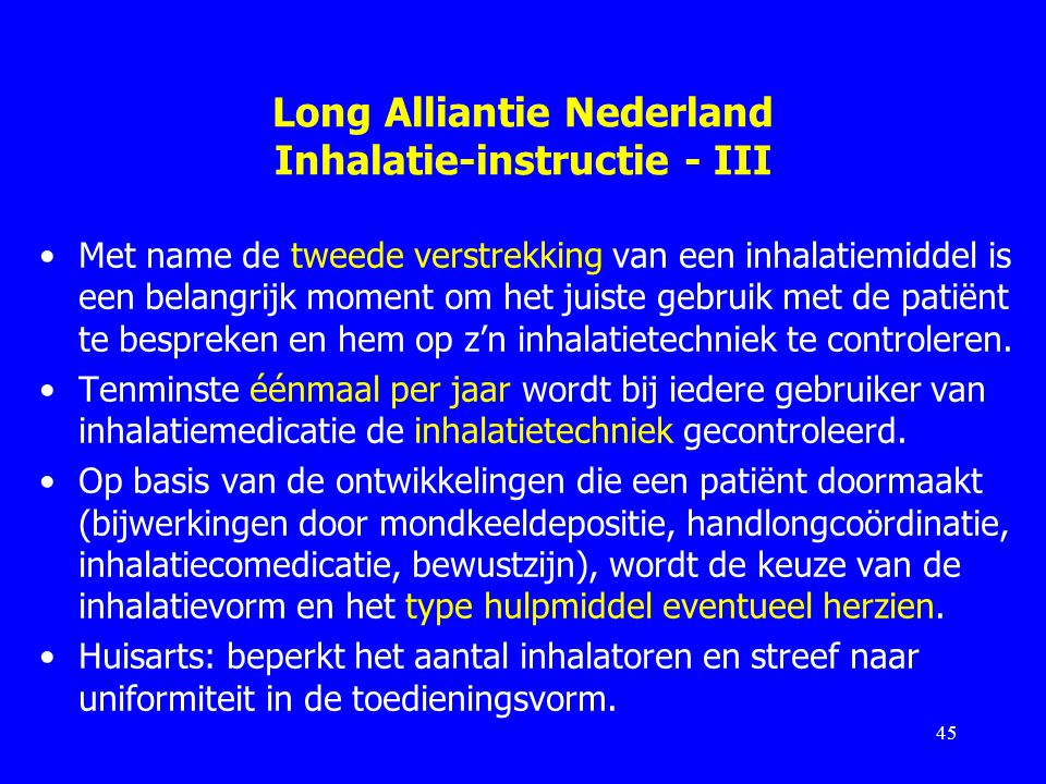 Long Alliantie Nederland Inhalatie-instructie - III