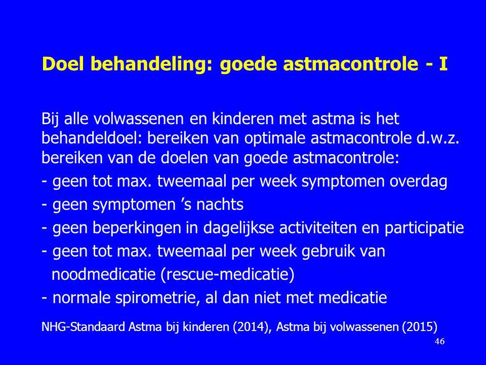 Doel behandeling: goede astmacontrole - I
