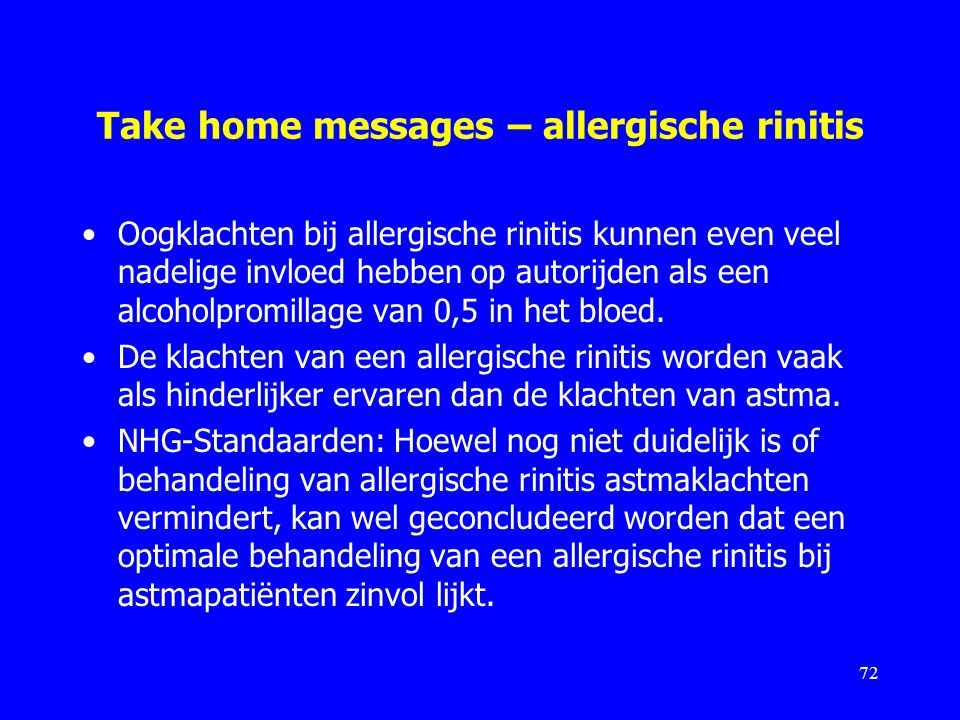 Take home messages – allergische rinitis