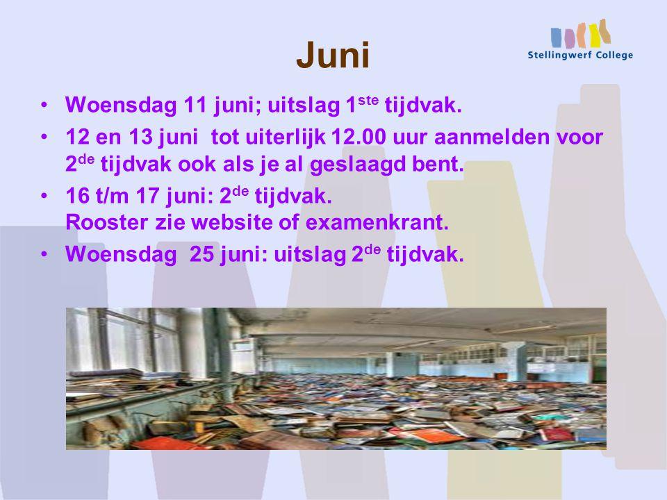 Juni Woensdag 11 juni; uitslag 1ste tijdvak.