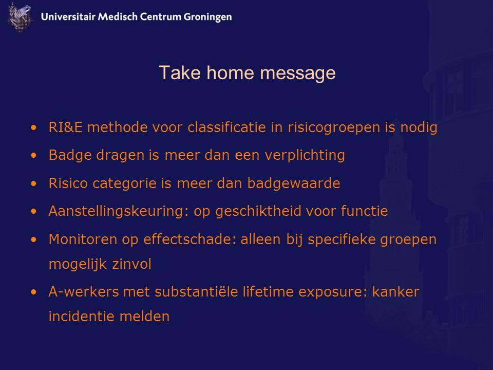 Take home message RI&E methode voor classificatie in risicogroepen is nodig. Badge dragen is meer dan een verplichting.