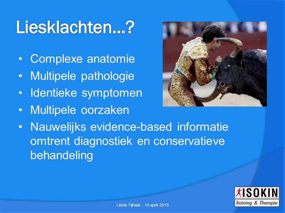 Liesklachten... Complexe anatomie Multipele pathologie